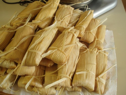 tamales waiting to be steamed