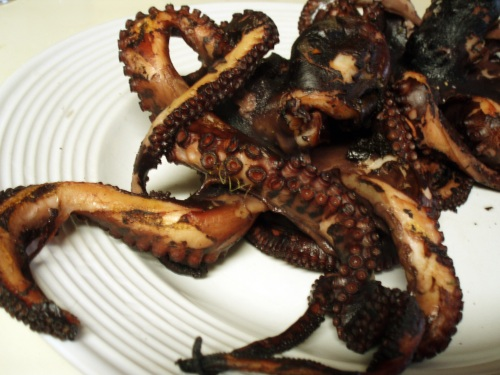 grilled octopus, waiting to be served