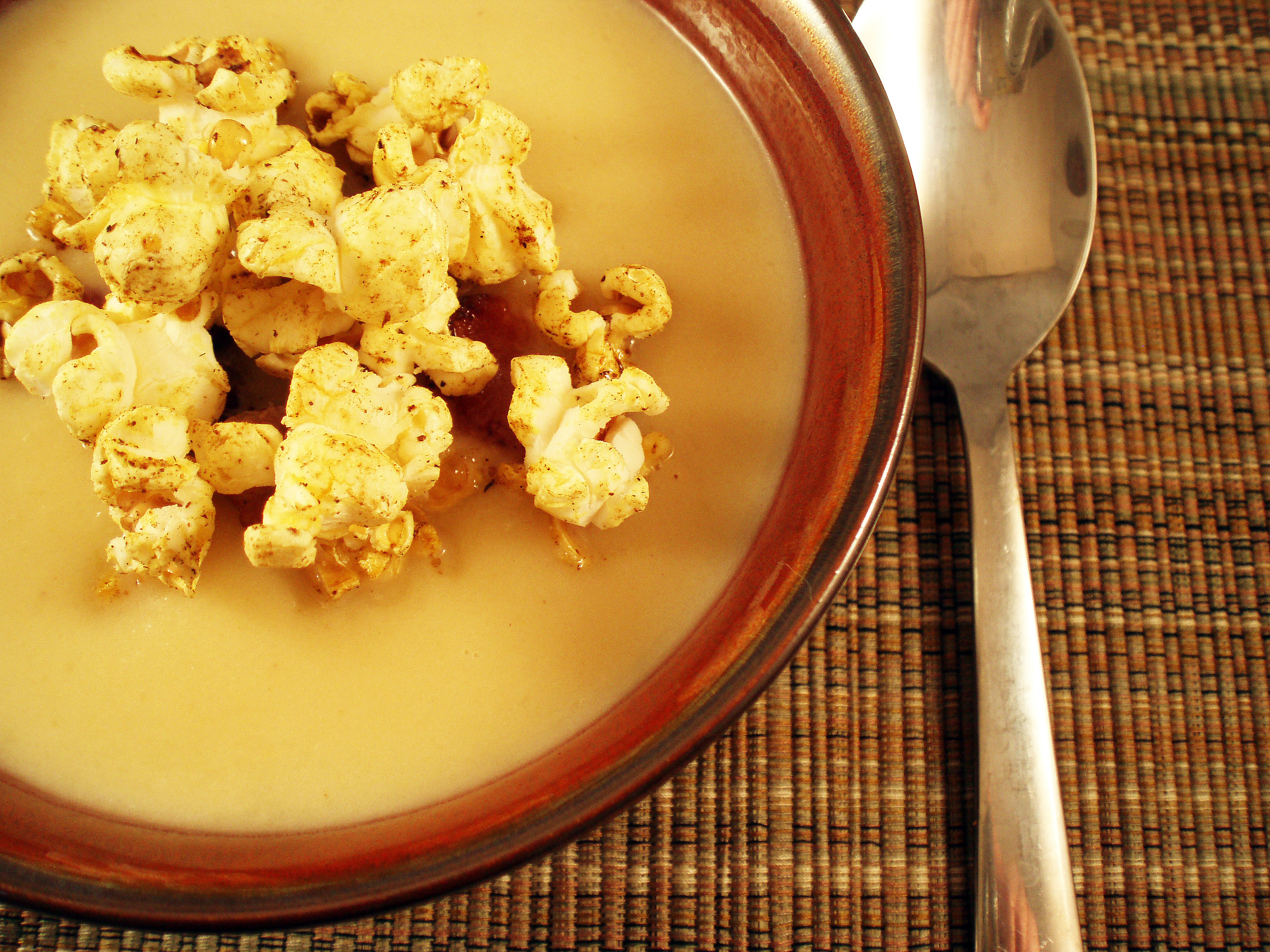 celeriac soup w curry popcorn